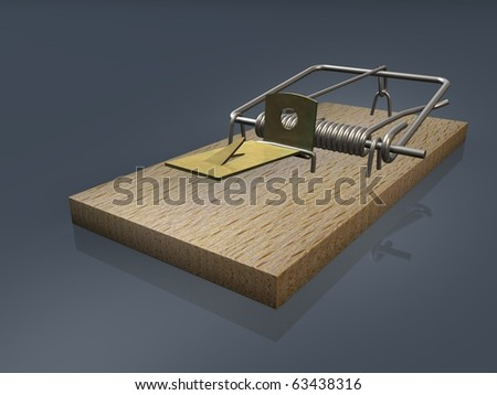 Open mousetrap on gray background
