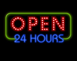 Open Neon Sign 24 hours in green surround
