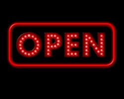 Open Neon Sign with red surround