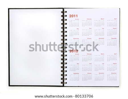 open note book with calendar 2011, 2012
