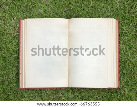 open notebook on green grass