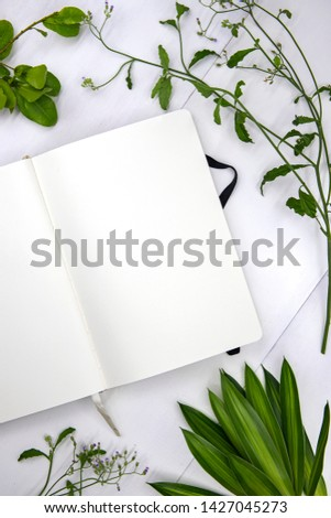 Open notebook top view photo on white background. Romantic social media stories template flat lay with white page for message and natural foliage. Spring or summer feminine background. Wedding cover