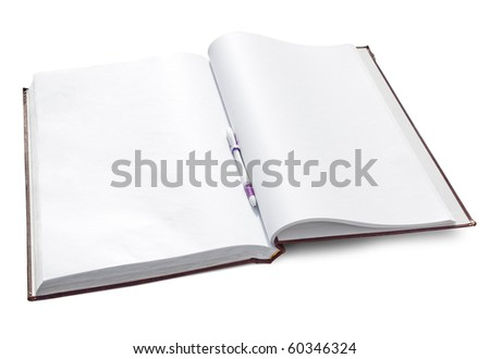 Open notebook with clear pages isolated on white. Clipping path included.