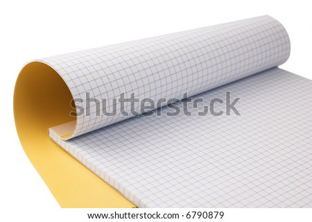 Open notepad isolated on white