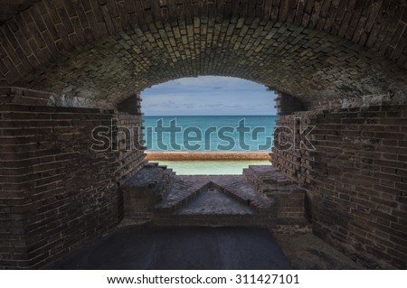 Open ocean outside abandoned Fort Jefferson. Dry Tortugas National Park, Florida.