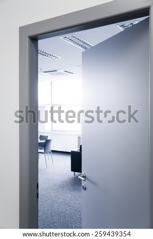 Open office door window chairs and carpet