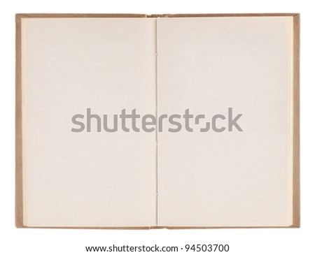 Open old blank book with clipping path - stock photo