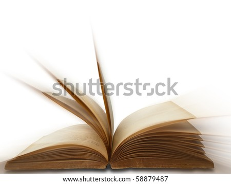 open old book on white background isolated