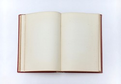 Open old book with blank sheets