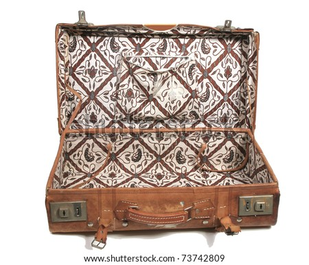 Open old leather suitcase