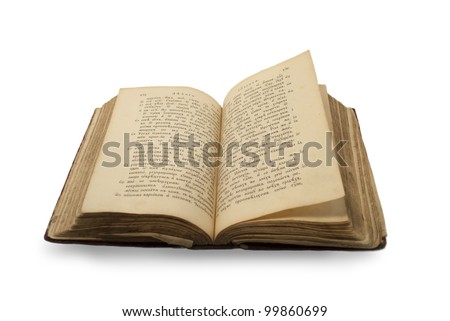 Open old religion book on old russian language isolated on white background