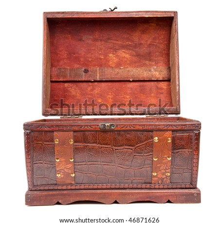 open old wooden chest isolated on white