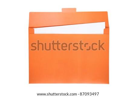 Open orange file folder with white paper inside.
