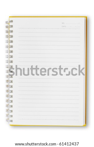 Open Orange notebook isolated  for text and background
