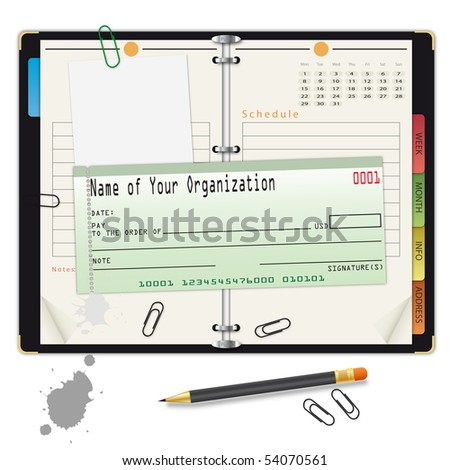 Open organizer with pencil and bank check - an illustration for your design project.