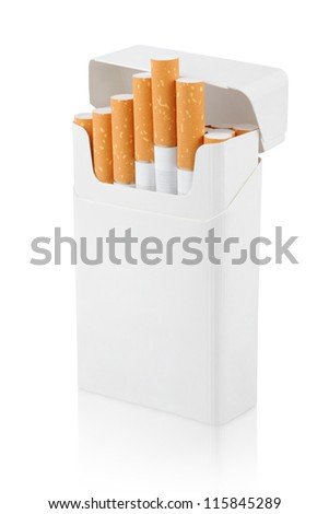 Open pack of cigarettes stands vertically on white with clipping path