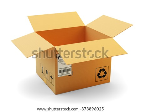 Open package icon, delivery, transportation and packaging concept, opened empty cardboard box isolated on white background