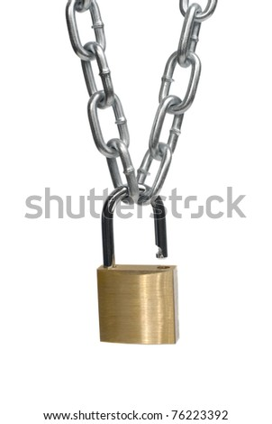 Open padlock and chain isolated on white background.