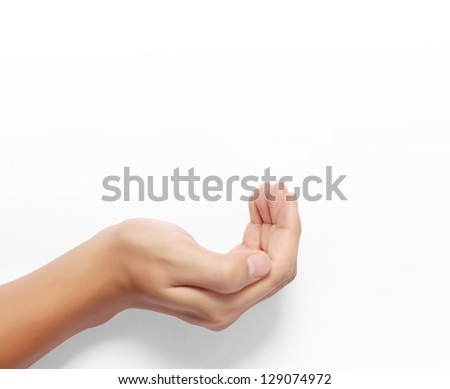 Open palm a hand gesture isolated on white background