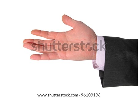 open palm of businessman