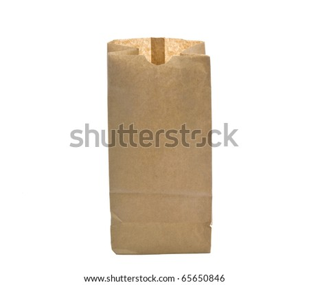 open paper bag. Isolated on a white background