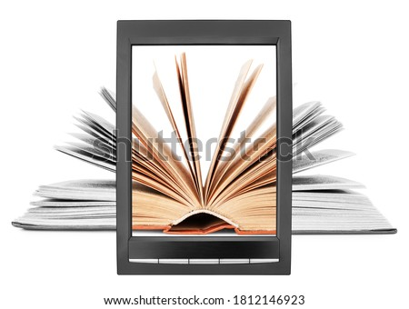 Open paper book flipping pages on electronic book display white background isolated close up, textbook turning pages on e-book screen, e-reader tablet, ebook digital library, ereader education concept Photo stock ©
