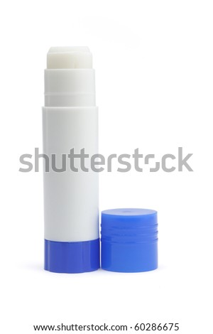 Open paper glue stick with blue cap on white background