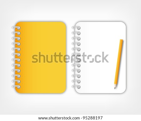 Open paper page orange notebook with pencil.