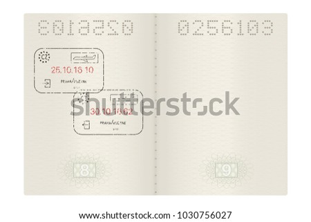 Open passport with Prague, Czech Republic stamps. 3d illustration isolated on white background. Raster version