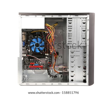 Open PC computer case. Isolated on a white background