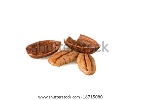 Open pecan nut shells with nuts against white