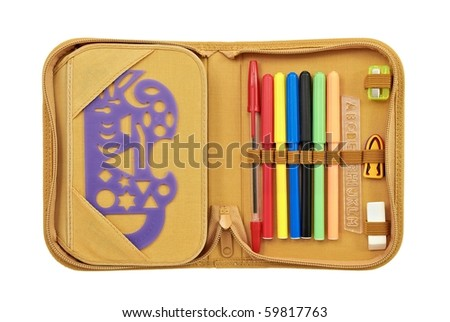 Open pencil case with various stationery