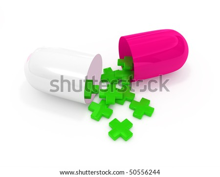 open pill capsule with first aid symbols. Isolation on white background
