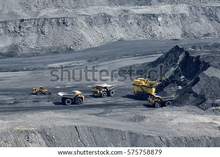 Open pit mine, digging for brown coal, Russia, Kuzbass, extractive industry