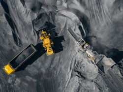 Open pit mine, extractive industry for coal, top view aerial drone.