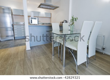 Open Plan Modern Kitchen With Dining Table Stock Photo 42829321 ...