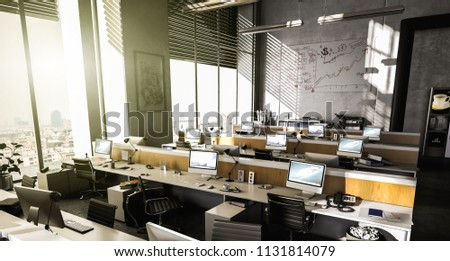 Open-plan office with several workplaces a day in direct sunlight (3d rendering)