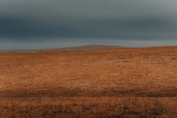 Open prairie in Kansas in dramatic lighting