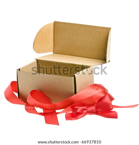 open present box with red ribbon bow isolated on white