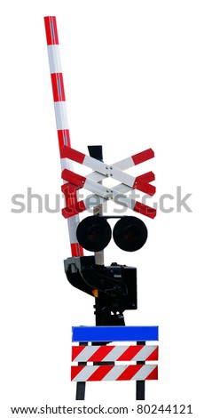 Open railroad crossing, isolated against background