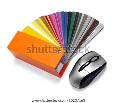 open RAL sample colors catalogue with optical mouse