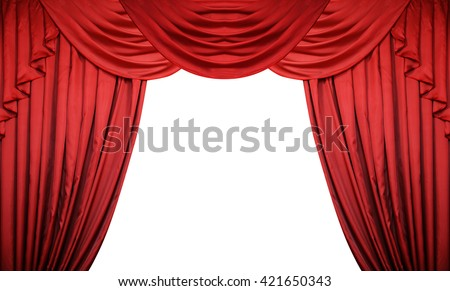 Open red curtains on white background. Theater or movie presentation with space for text #421650343