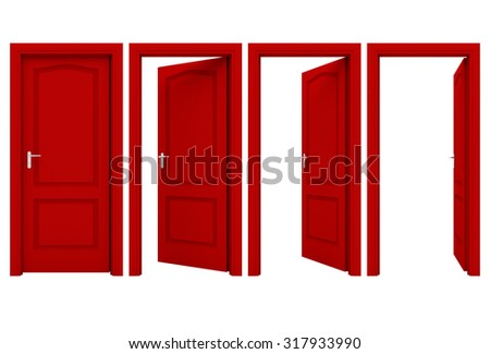 open red door isolated on a...