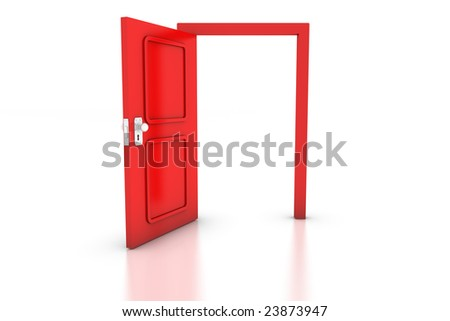Open red door on white with reflection. Conceptual 3d render: success, options, success.