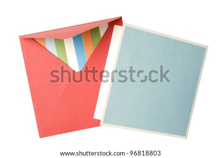 Open red envelope with card inside on white background.
