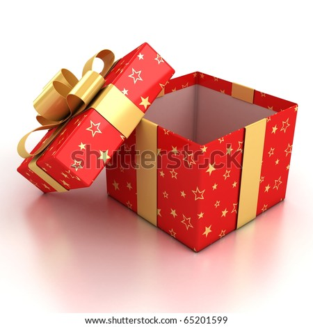 open red gift box with golden ribbon over white background 3d illustration