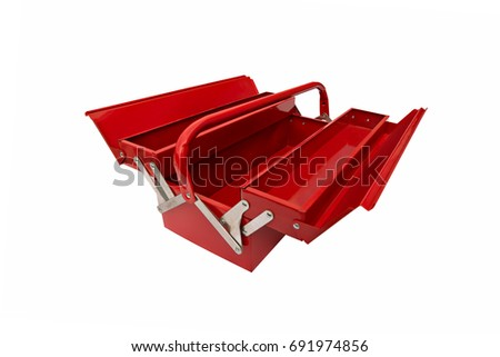 open red metallic closed iconic toolbox on white background #691974856