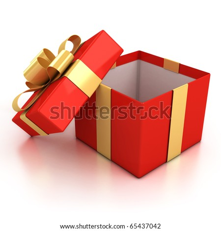 open red present box with golden ribbon isolated over white background.