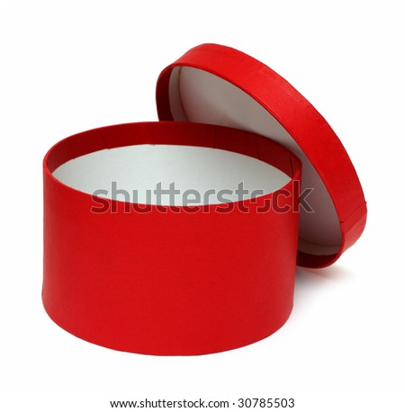 open red round box isolated on white