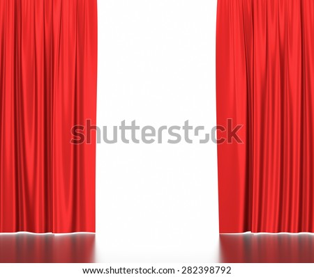 Open red silk curtains for theater and cinema with a white background. 3d illustration High resolution